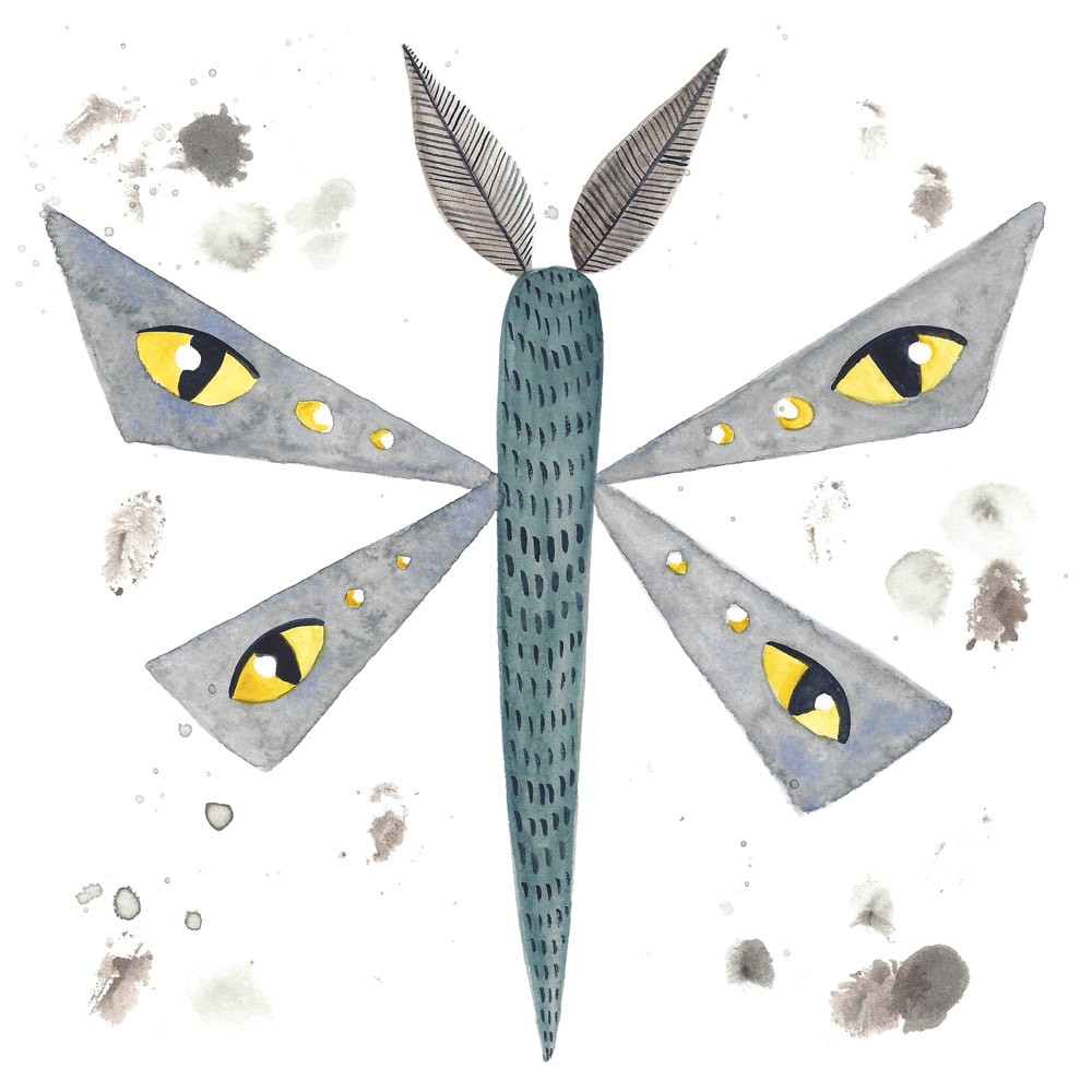 Painted cartoon: closeup on the moth drawing. It is now covered in fingerprints and paint smudges.