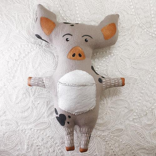 Gray Calico Pig Stitchy Pocket Doll