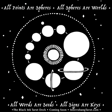Black Ink Tarot Preview: All points are spheres. All spheres are worlds. All words are seeds. All signs are keys. By multimedia artist Evvie Marin of Interrobang Tarot.