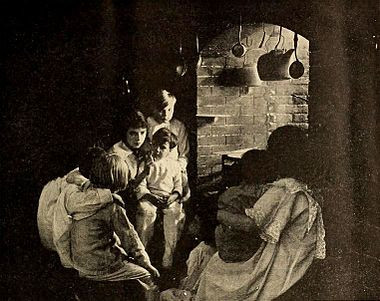 """Scene from the 1918 Silent Movie, """"LIttle Orphant Annie."""""""