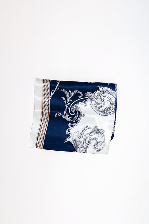 Navy blue and white silk