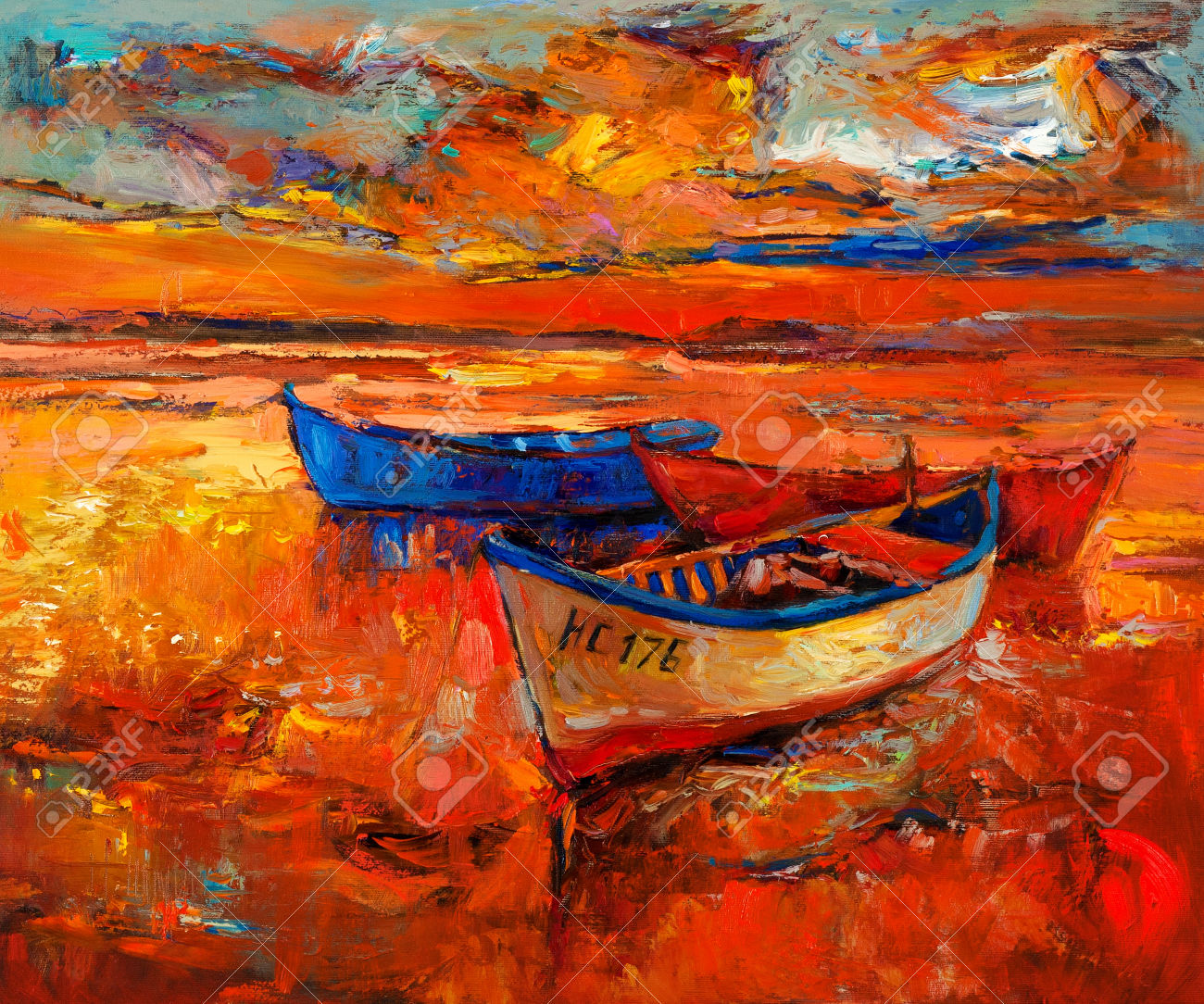 23177830-Original-oil-painting-of-boats-and-sea-on-canvas-Sunset-over-ocean-Modern-Impressionism-Sto