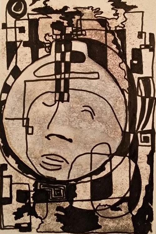 triptych of faces/100  30cmx63cm