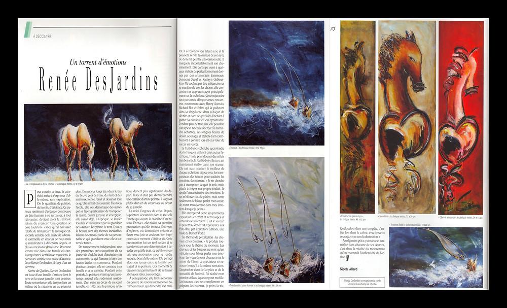 Magazine Art, septembre 2014, Articles « Un torrent d'émotions »