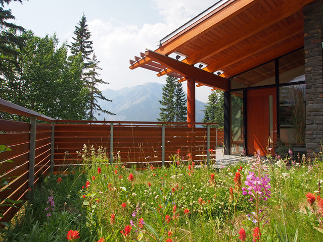 A green roof planted with native wildflowers welcomes you to the entryway of this modern mountain home.