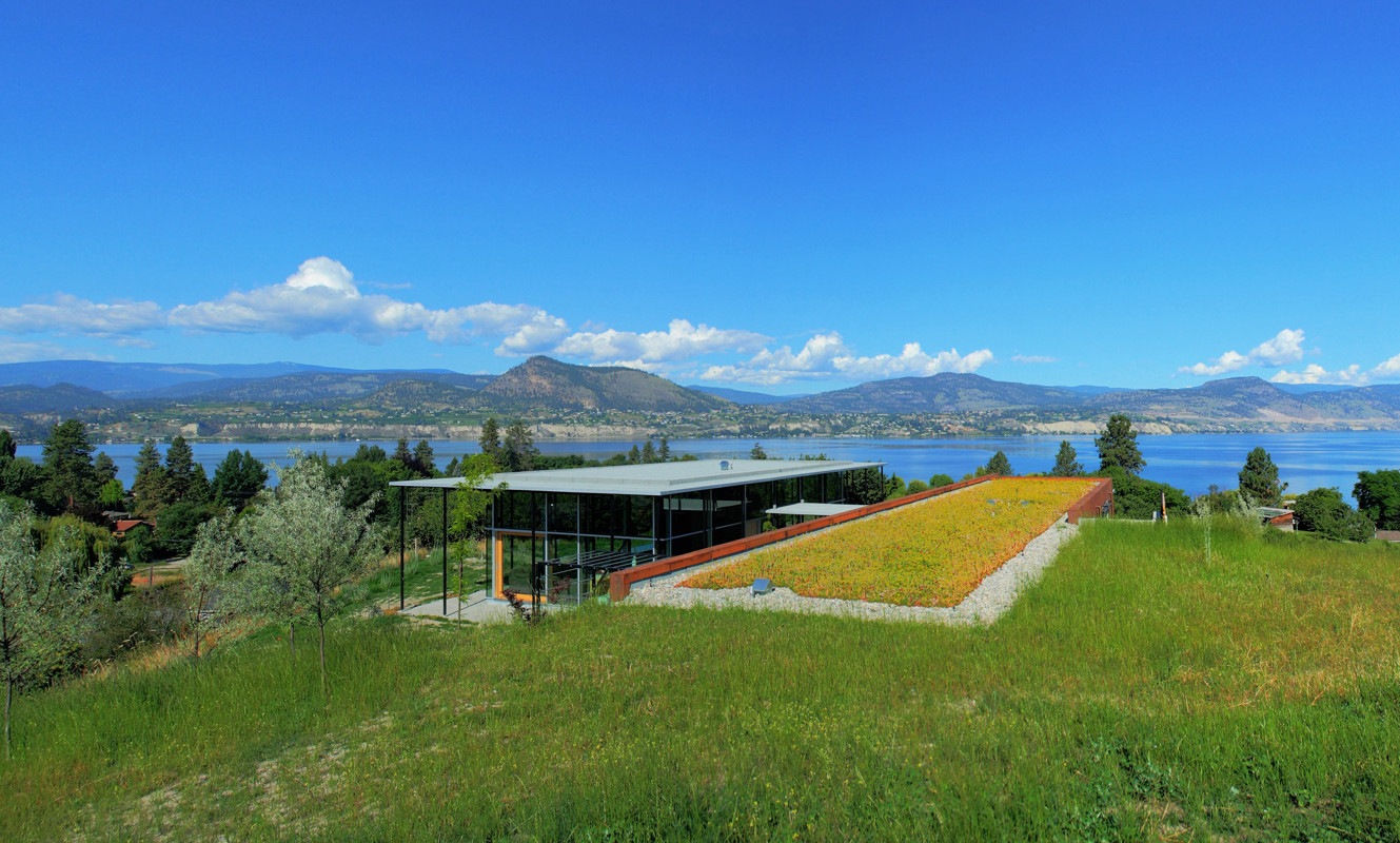 A xeriscape (water efficient) garden covering the roof of the Earth house with Okanagan Lake beyond.  image courtesy of Allen + Maurer Architects