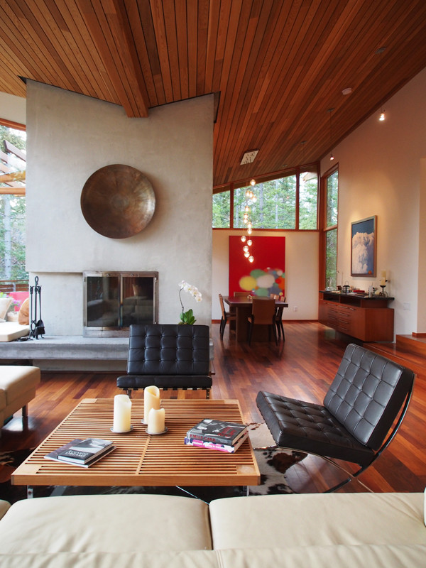 Natural light washes the plaster finished fireplace of this peaceful mountain home.