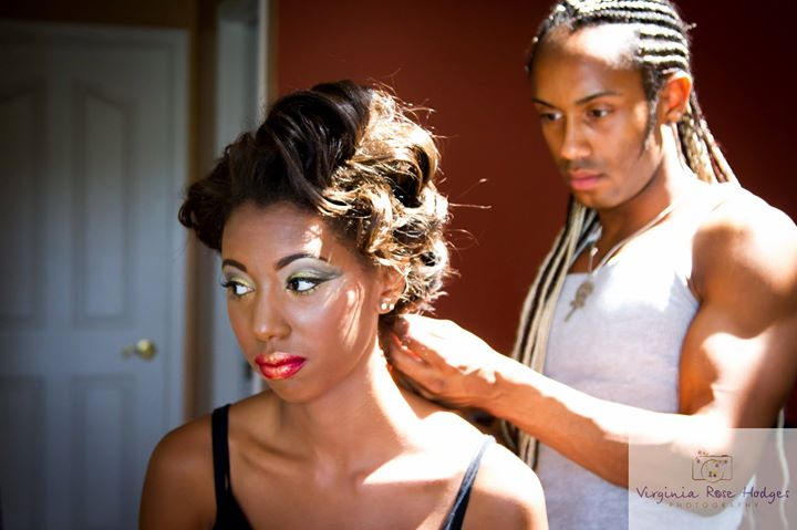 a BTS look from hair and make up with Toné Jackson doing an amazing couture look on our Gorgeous mod