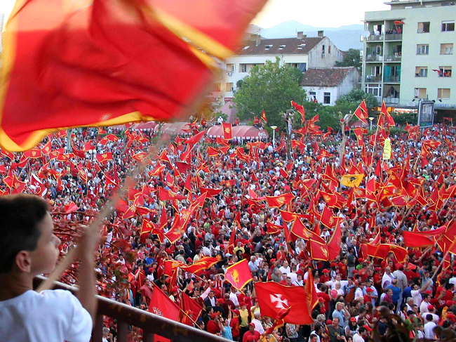 Montenegrins celebrate their independence after the 2006 referendum result