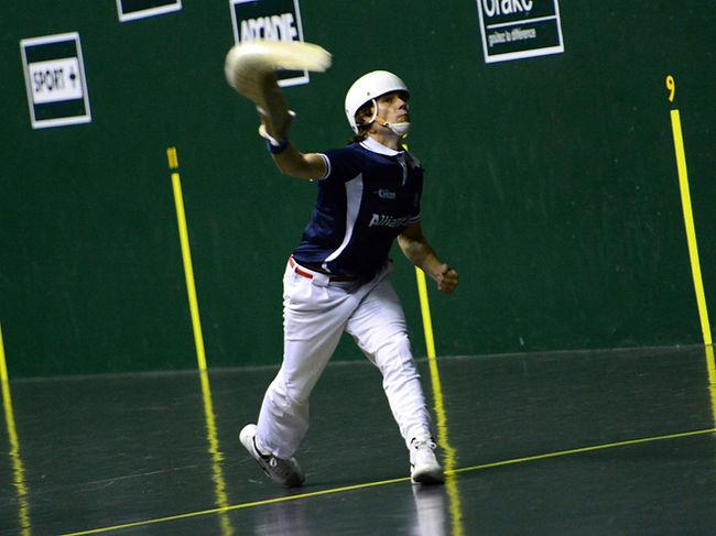A man playing the Basque sport of pelota