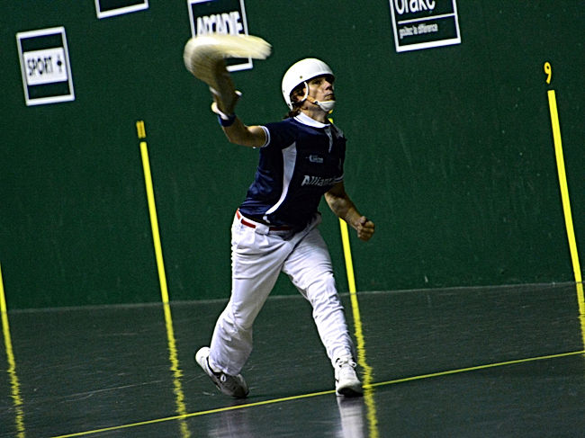 A man playing the Basque sport of pelota