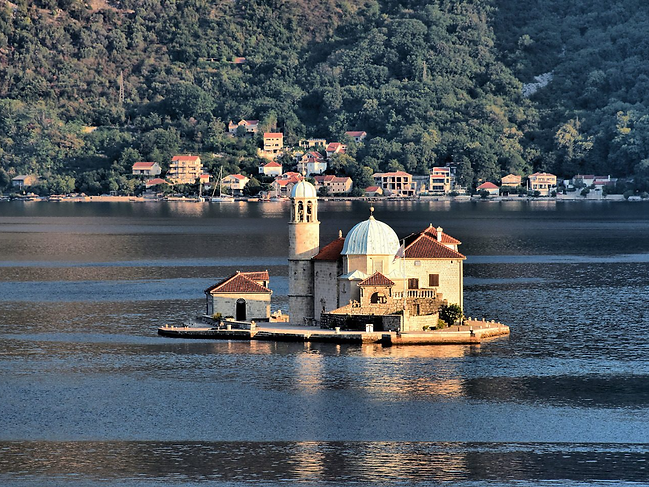 Our Lady of the Rocks sits on a manmade islet in the middle of the bay