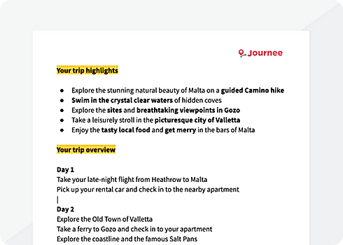Example of a Journee trip itinerary