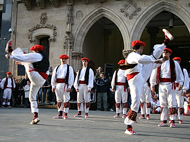 A group of young men dance the traditional 'ezpata-dantza'