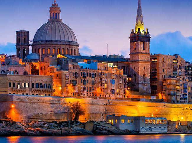 Valletta lit up at night