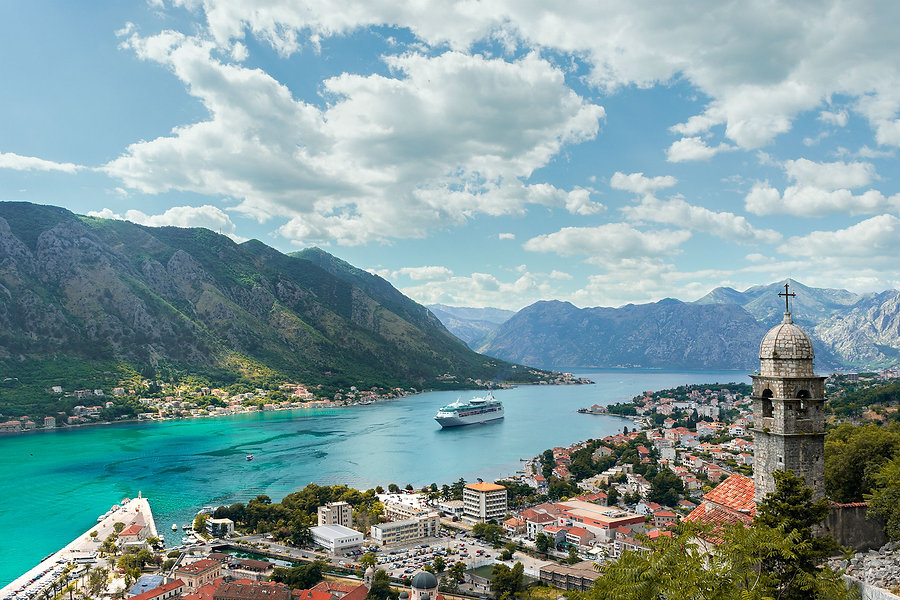 The spectacular view from San Giovanni of the emerald green Bay of Kotor