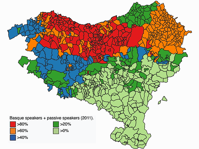 A map of Basque speakers in 2011