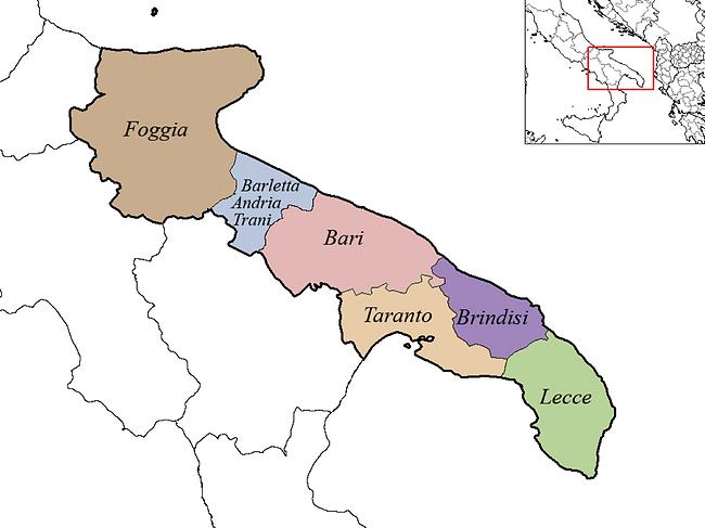 A map of Puglia's regions
