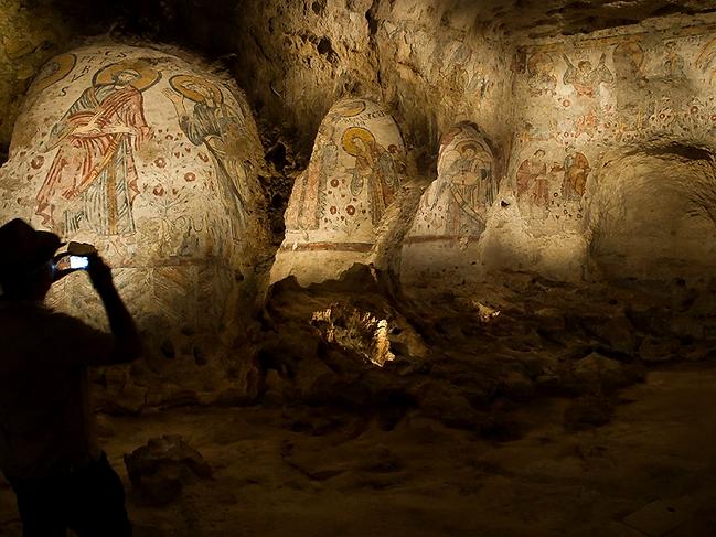 Inside one of Matera's rupestrian churches