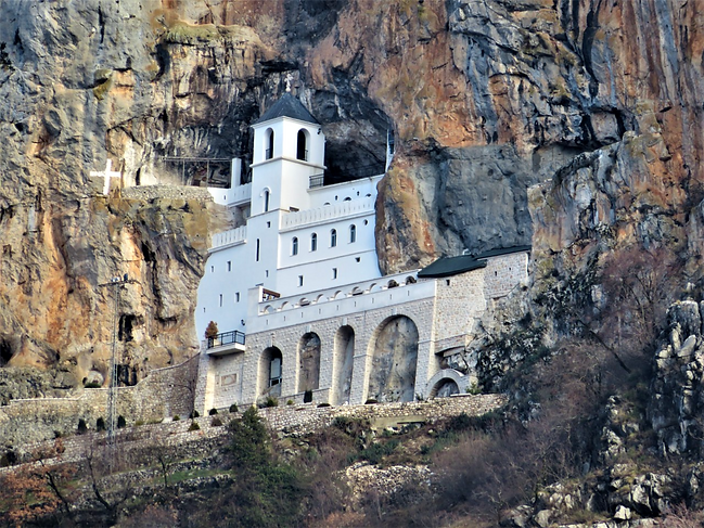 The Monastery of Ostrog is dedicated to Saint Basil of Ostrog, who was buried there