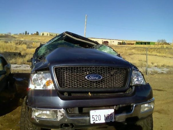 Amberley's truck and aftermath of accident.