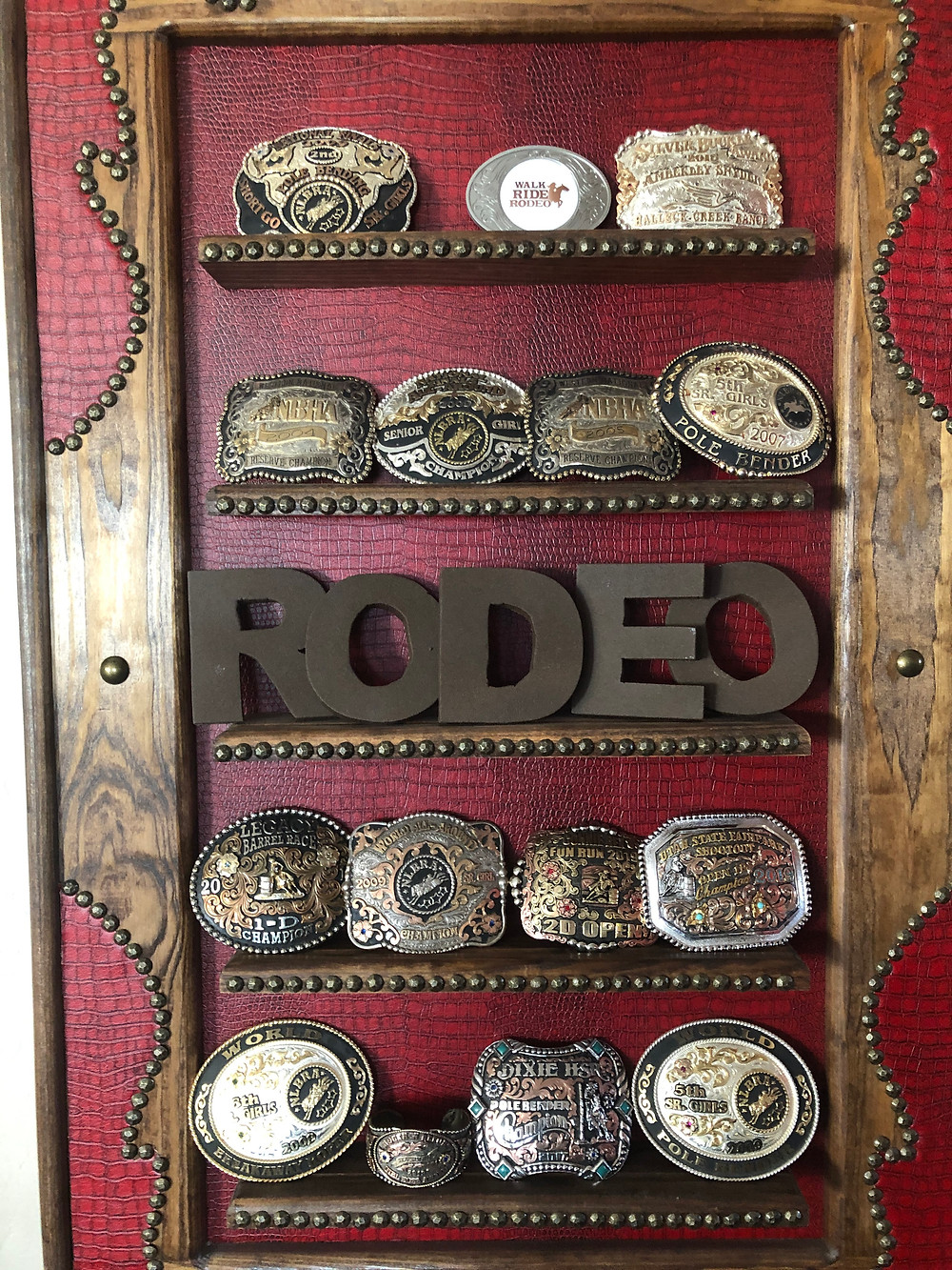 A fraction of her buckles displayed