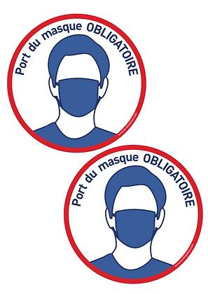 Lot de deux étiquettes port du masque obligatoire