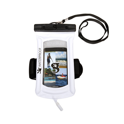Float Phone Dry Bag With Audio Cord / Arm Band - White