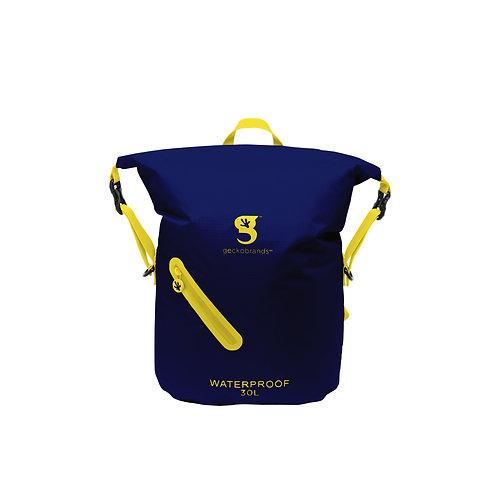 Lightweight 30L Waterproof Backpack - Navy/Yellow