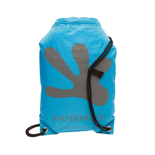 Drawstring Waterproof Backpack - Neon Blue/Grey