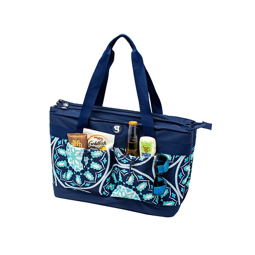 2 Compartment Tote Cooler - Blue Medallion