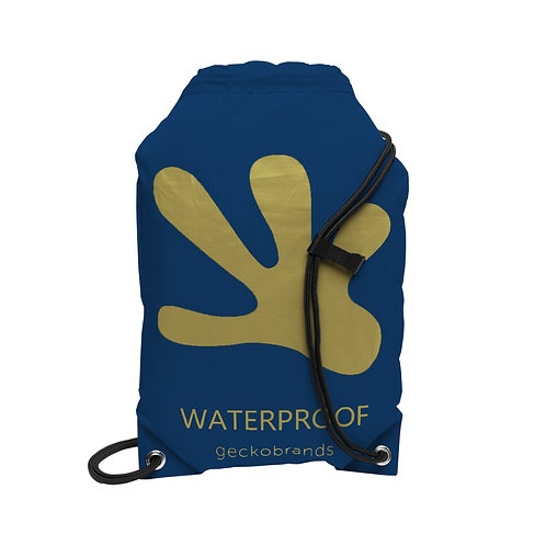 Drawstring Waterproof Backpack - Navy/Gold