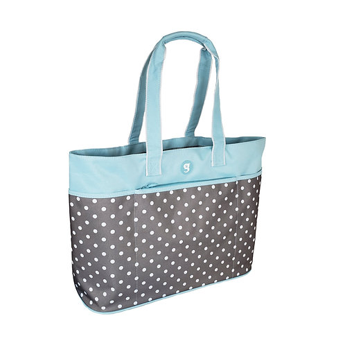 Oversized Beach Tote - Blue/White Polka Dot