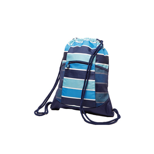 Drawstring Backpack - Blue Ombre Stripe