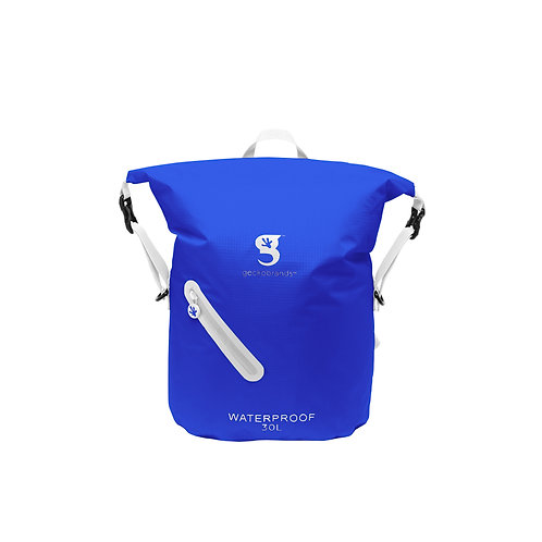 Lightweight 30L Waterproof Backpack - Royal Blue / White