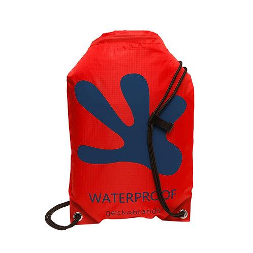 Drawstring Waterproof Backpack - Red/Navy