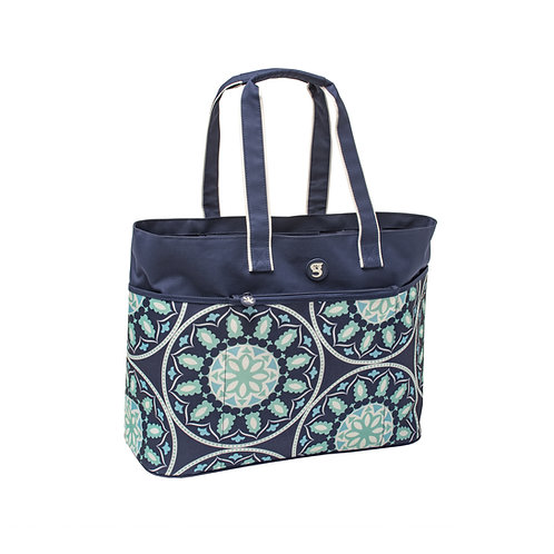 Oversized Beach Tote - Blue Medallion