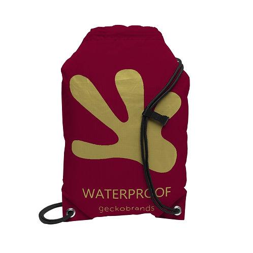 Drawstring Waterproof Backpack - Maroon/Gold
