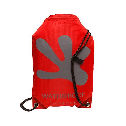 Drawstring Waterproof Backpack - Red/Grey