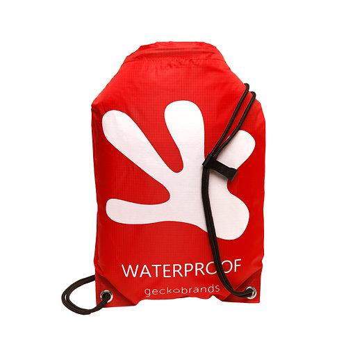 Drawstring Waterproof Backpack - Red/White