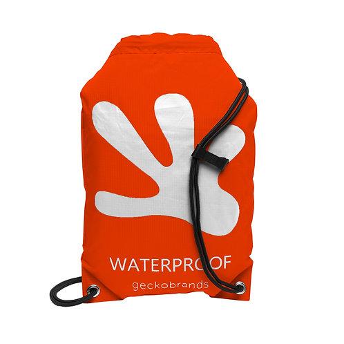 Drawstring Waterproof Backpack - Orange/White