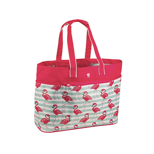 Oversized Beach Tote - Flamingo Stripe