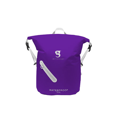 Lightweight 30L Waterproof Backpack - Purple/White