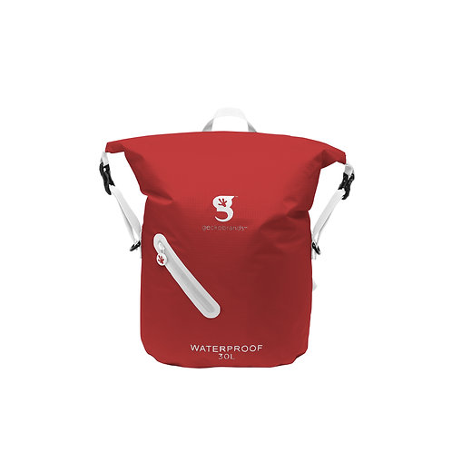 Lightweight 30L Waterproof Backpack - Cardinal/White