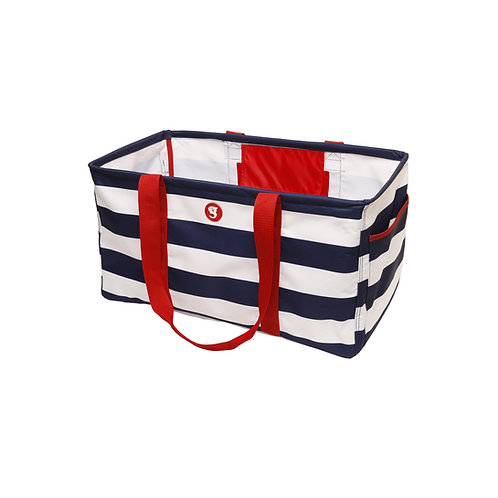 Large Utility Tote - Navy/White/Red Wide Horizontal Stripe