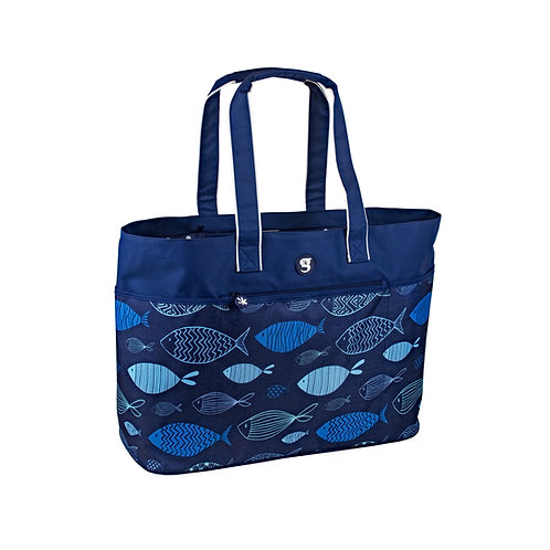 Oversized Beach Tote - Blue Fish