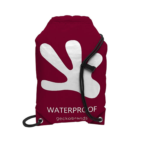Drawstring Waterproof Backpack - Maroon/White