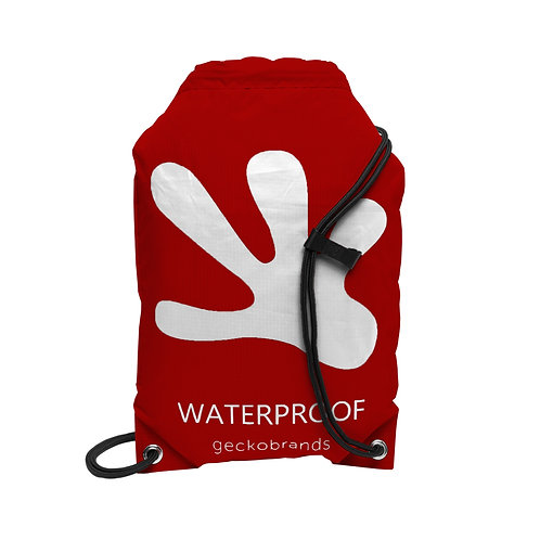 Drawstring Waterproof Backpack - Cardinal/White