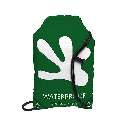Drawstring Waterproof Backpack - Hunter Green/White