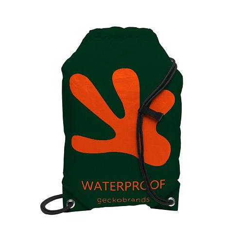 Drawstring Waterproof Backpack - Hunter Green/Orange